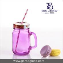 450 ml de pot de verre coloré en verre avec couverture et paille