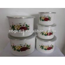 5pcs enamel high mixing bowl sets with PP lid