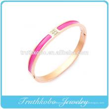 2016 Ladies Gold Bangles Design Acero inoxidable Rosa dorado Esmalte rojo Blanco CZ Brazalete de forma ovalada Brazalete en línea