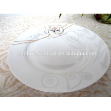 Bone china plate for breakfast with flower decal new design