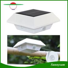 4 светодиодных квадратных солнечных ламп PIR датчик движения Крыша водосточного водопровода Солнечный свет Водонепроницаемый светильник забора Светодиодный солнечный свет сада