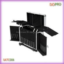 Caja de peluquería ABS de rayas plateadas con carro (SATC006)