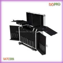 Silver Striped ABS Hairdressing Carry Cases with Trolley (SATC006)