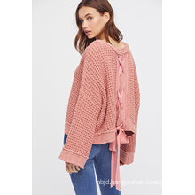 Chunky Knit Sweater Lace-up Detailing Down The Back
