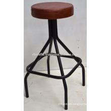 Industrial Metal Tube Bar Stool Leather Seat
