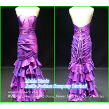 Long Satin Evening Gown Ruffle Mermaid Trumpet Ribbons Open Back Mère Robes BYE-14065