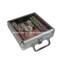 Ensemble de puce de poker 100PCS en étui en aluminium de couverture transparente (SY-S10)