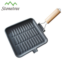 Hot Sale Vegetable Oil Cast Iron Square Grill Pan With Folding Handle