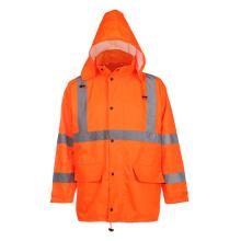 Class3 100% Polyester Reflective Safety Jacket Raincoat