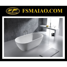 Modern Fashion Stone Resin Glossy White Freestanding Bathtub (BS-8612)