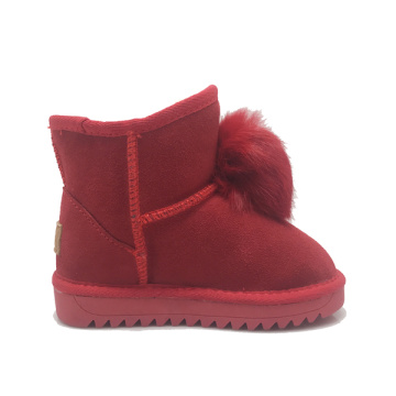 Girls Winter Warm leather ankle Cute PomPom Booties