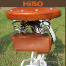 2016 High quality Outdoor genuine Leather Waterproof Bicycle Seat Saddle Bag