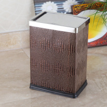Stainless Steel Top Leather Surrounded Swing Waste Bin (GA-10LE)