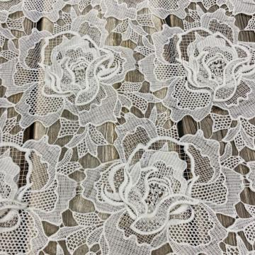 Handgemachte 3D Flower Chemical Lace Stickerei Stoff
