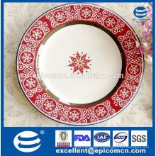 Сделано в Китае Снежинка печать керамические пластины ужин для рождественского банкета