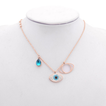Kalung Rose Gold Blue Crystal Evil Eye Necklace