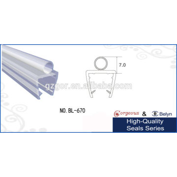 Transparent PVC clean glass door seal