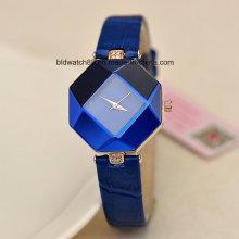 Pequeño reloj de pulsera de la manera de las mujeres de encargo con la venda de cuero