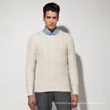 Acrílico de lana de nylon de Alpaca Cable de punto hombre suéter
