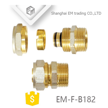EM-F-B182 NPT male thread compression brass adaptor pipe fitting