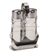 Transparent Oil Bottles with Stainless Steel Stand