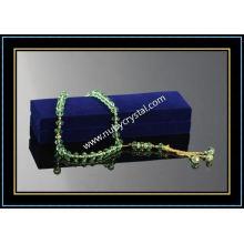 Green Muslim Crystal Bead Rosary Necklace 33PCS (K2)