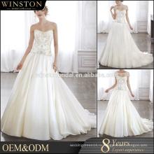 Производители OEM вышитые органзы ткань белый лиф на косточках кружева свадебные платья
