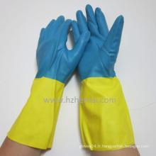 Gants en néoprène bi-coloris Sécurité chimique Gants sans latex Gants de travail
