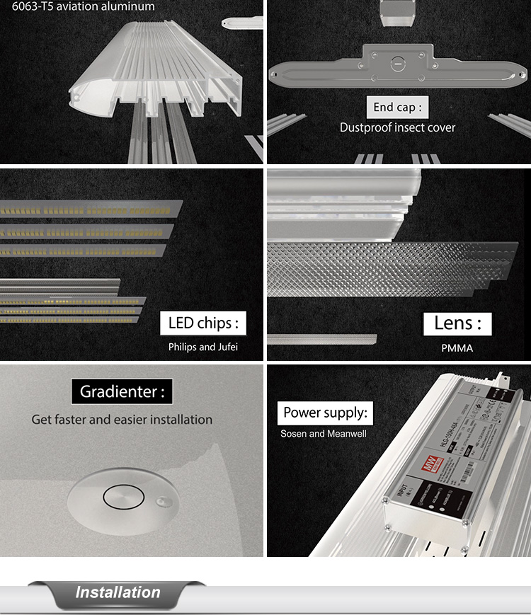 Aluminum LED Flat Linear High Bay Light Fixture 004