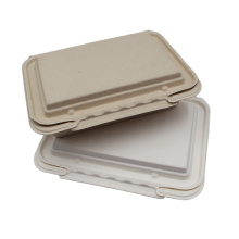 Sugarcane Bagasse Clam Shell Food Containers 1 Compartment Lunch Box With Lid