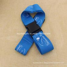 Fourniture Logo personnalisé imprimé bleu bagage sangle
