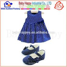 Heiß auf Verkauf 100% Baumwolle fancy Baby Polka Dot Bogen Kleid