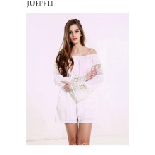 Us Women′s Summer Strapless Lace Stitching Straps Hollow White Solid Color Long Sleeve Jumpsuit Piece Shorts