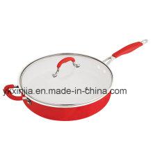 Kitchenware Red Color Aluminum Ceramic Coating Fry Pan, Steak Pan, Cookware Set