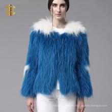 Piel de mapache auténtica de punto de invierno mujeres abrigo 2015