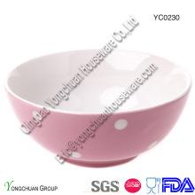 Ceramic Pink Bowl com White DOT para Atacado