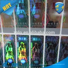 Custom PET 3D Rainbow uma vez usar etiqueta de holograma / holograma genuíno raspar as etiquetas