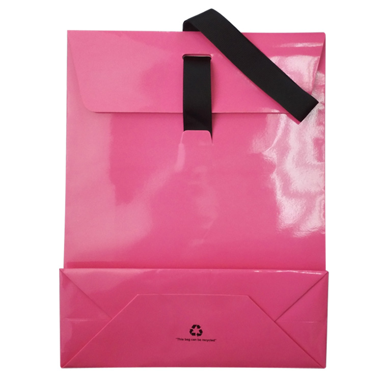Coated Paper Bag with Ribbon Handles