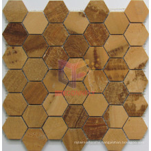 Wooden Yellow Marble Mosaic (CFS1048)