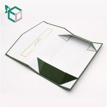 Картонный складной темно-зеленый золотой логотип тиснение коробка подарочная складная