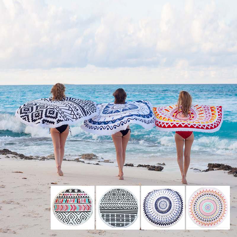 Reactive Print Circle Beach Towels