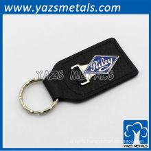 custom black leather keychain