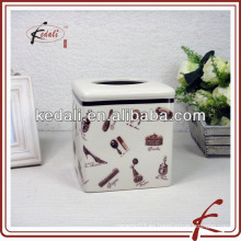 Caja de tejido facial de cerámica con esmalte crujiente