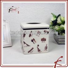 Керамическая коробка для косметических салфеток с тресковой глазурью