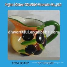 Jarra de leche de cerámica promocional con estatuilla de olivo