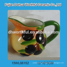Jarra de leite de cerâmica promocional com estatueta de azeitona
