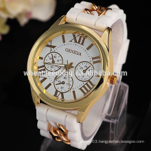 2015 new design 3 dial decoration candy colory geneva silicone watch