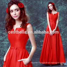 Neue Ankunft 2017 spezielle Gelegenheit lange rote Satin-Abendkleid Rote Chiffon- Abend-Abschlussball-Partei-Kleid 2017