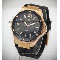 Custom Sports Gold Tone Leather Band Automatic Wrist Watch Men