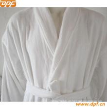 Hochwertiger weißer Piping Samt Bademantel (DPR3012)